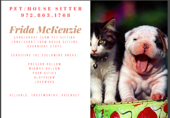 Pet/House Sitting Services - Park Cities Online Local News